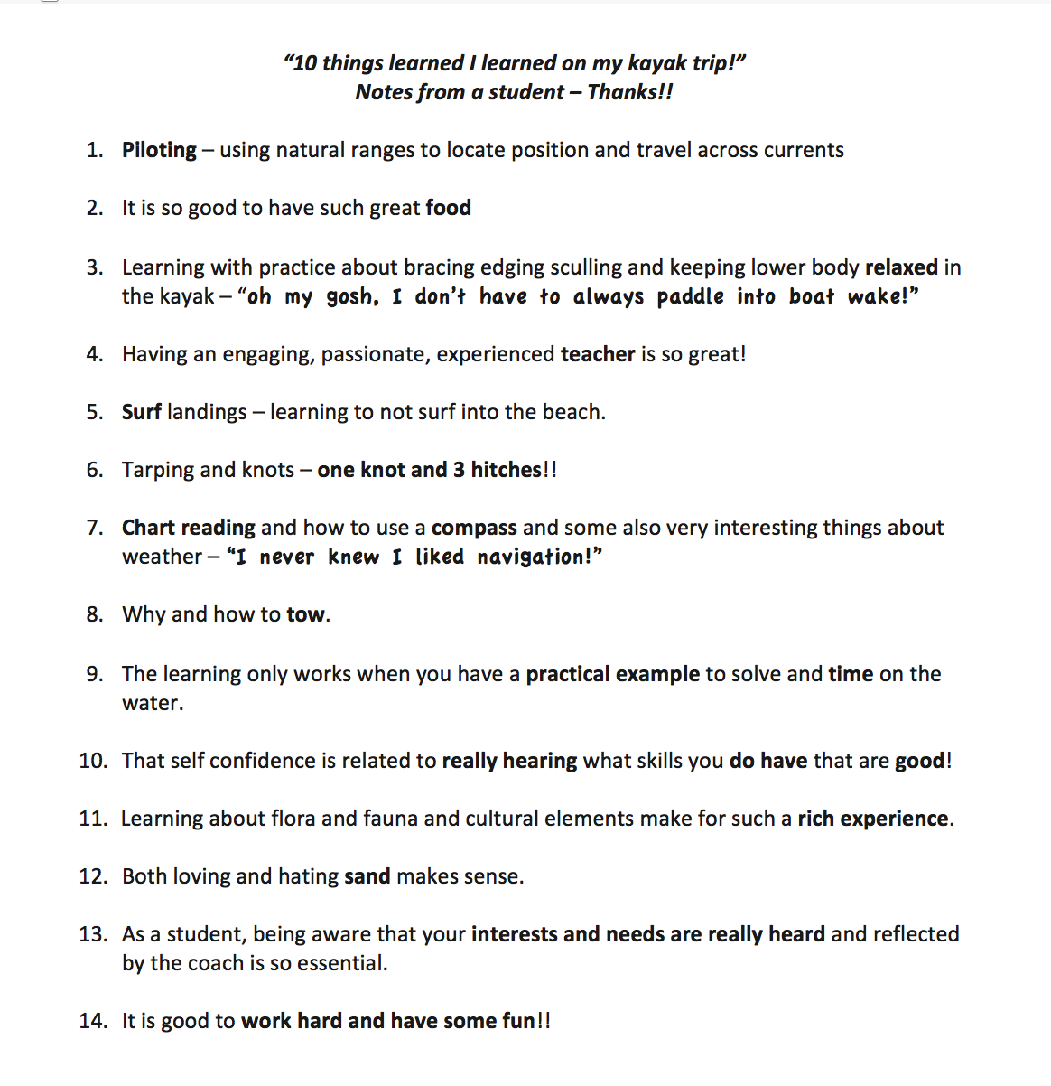 10 things i learned on my kayak trip notes from a student kate 10 things i learned on my kayak trip notes from a student